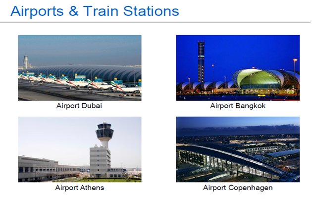 AIRPORTS & TRAIN STATIONS.